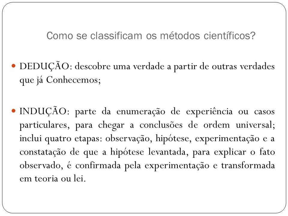 Como se classificam os métodos científicos