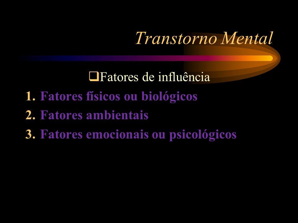 Transtorno Mental Fatores de influência Fatores físicos ou biológicos