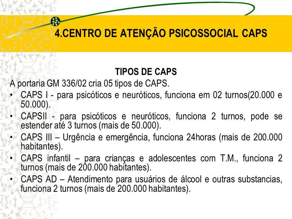 4.CENTRO DE ATENÇÃO PSICOSSOCIAL CAPS