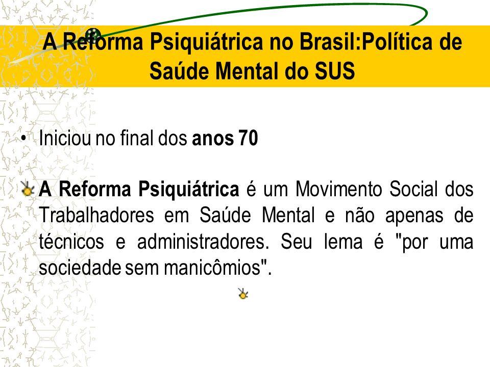 A Reforma Psiquiátrica no Brasil:Política de Saúde Mental do SUS
