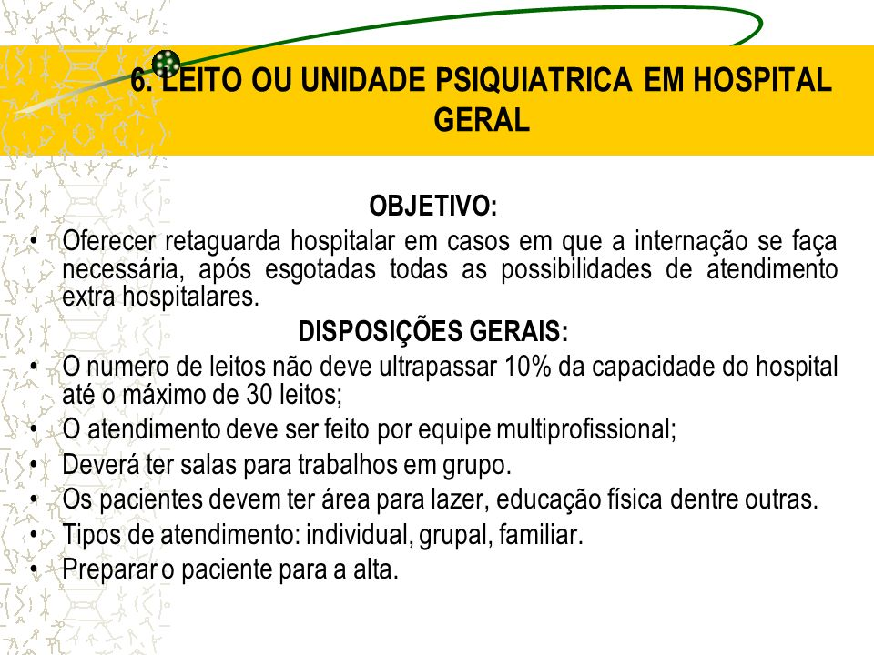6. LEITO OU UNIDADE PSIQUIATRICA EM HOSPITAL GERAL
