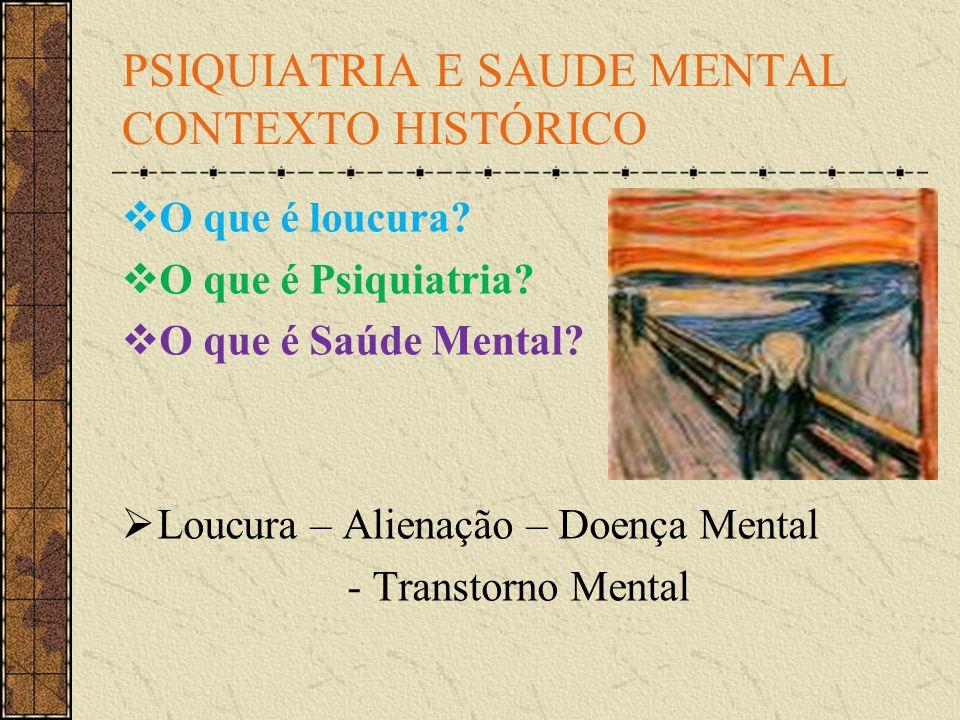 PSIQUIATRIA E SAUDE MENTAL CONTEXTO HISTÓRICO