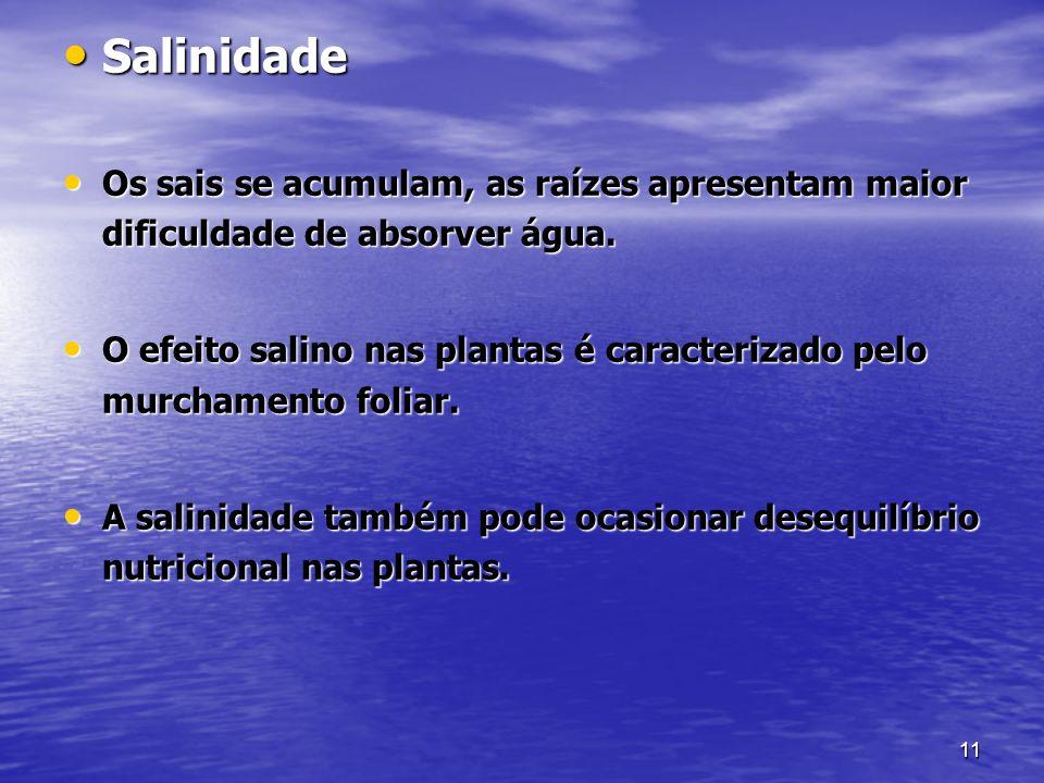 SalinidadeOs sais se acumulam, as raízes apresentam maior dificuldade de absorver água.
