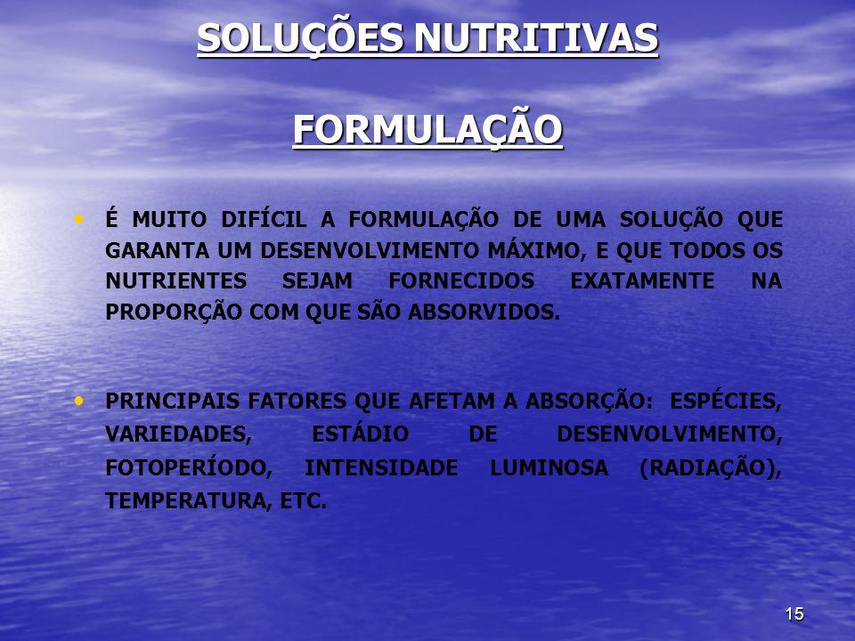 SOLUÇÕES NUTRITIVAS FORMULAÇÃO