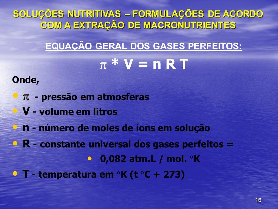 EQUAÇÃO GERAL DOS GASES PERFEITOS: