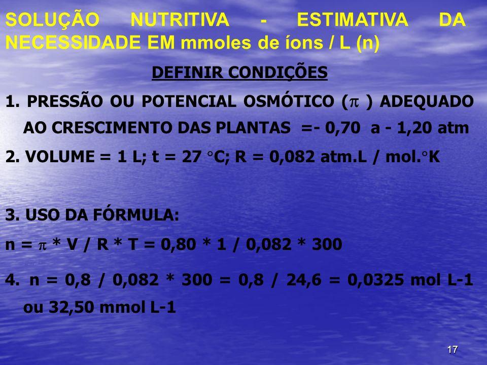 SOLUÇÃO NUTRITIVA - ESTIMATIVA DA NECESSIDADE EM mmoles de íons / L (n)
