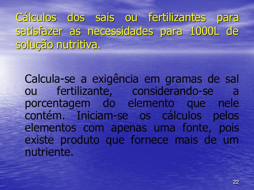 Cálculos dos sais ou fertilizantes para satisfazer as necessidades para 1000L de solução nutritiva.