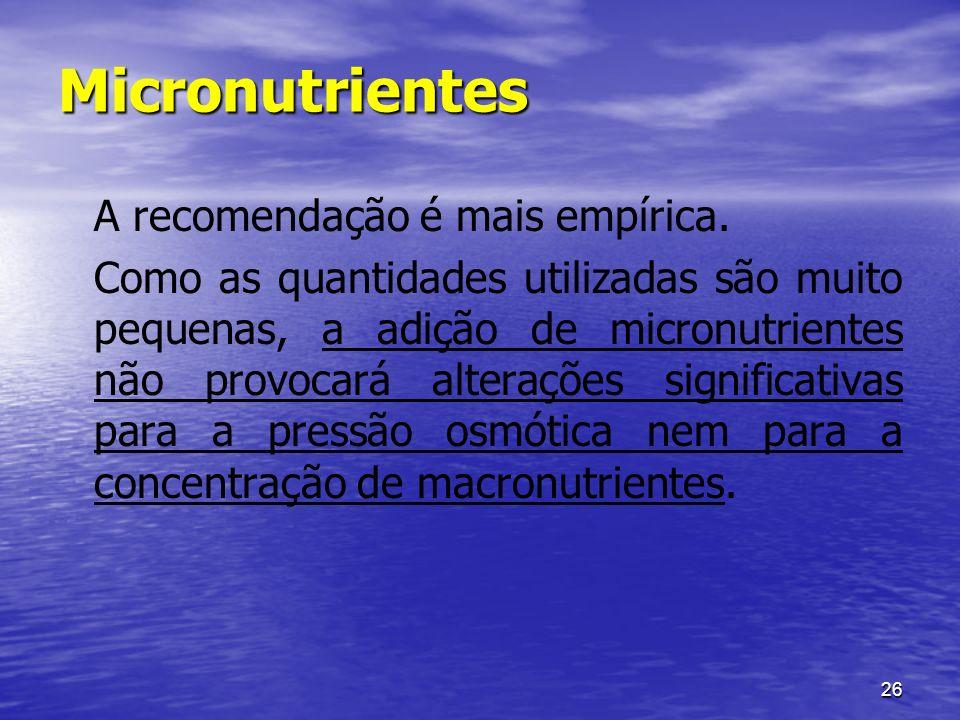Micronutrientes A recomendação é mais empírica.