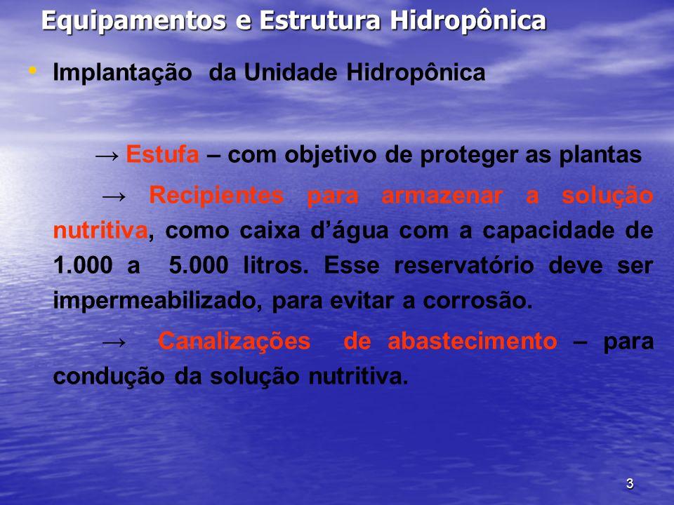 Equipamentos e Estrutura Hidropônica