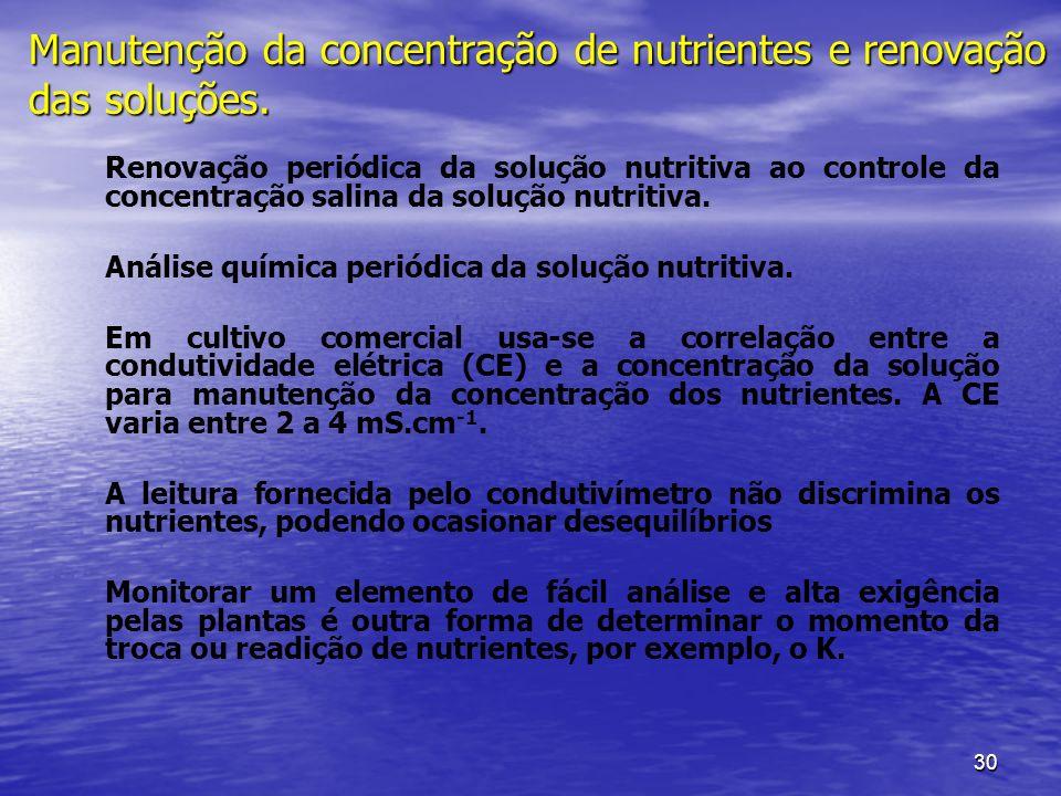 Manutenção da concentração de nutrientes e renovação das soluções.