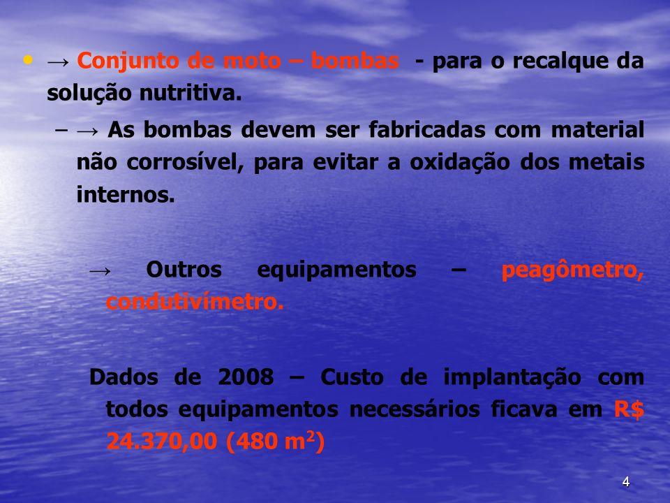 → Conjunto de moto – bombas - para o recalque da solução nutritiva.
