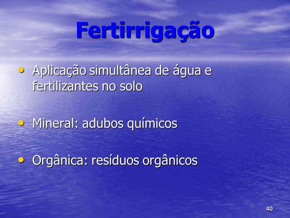 Fertirrigação Aplicação simultânea de água e fertilizantes no solo