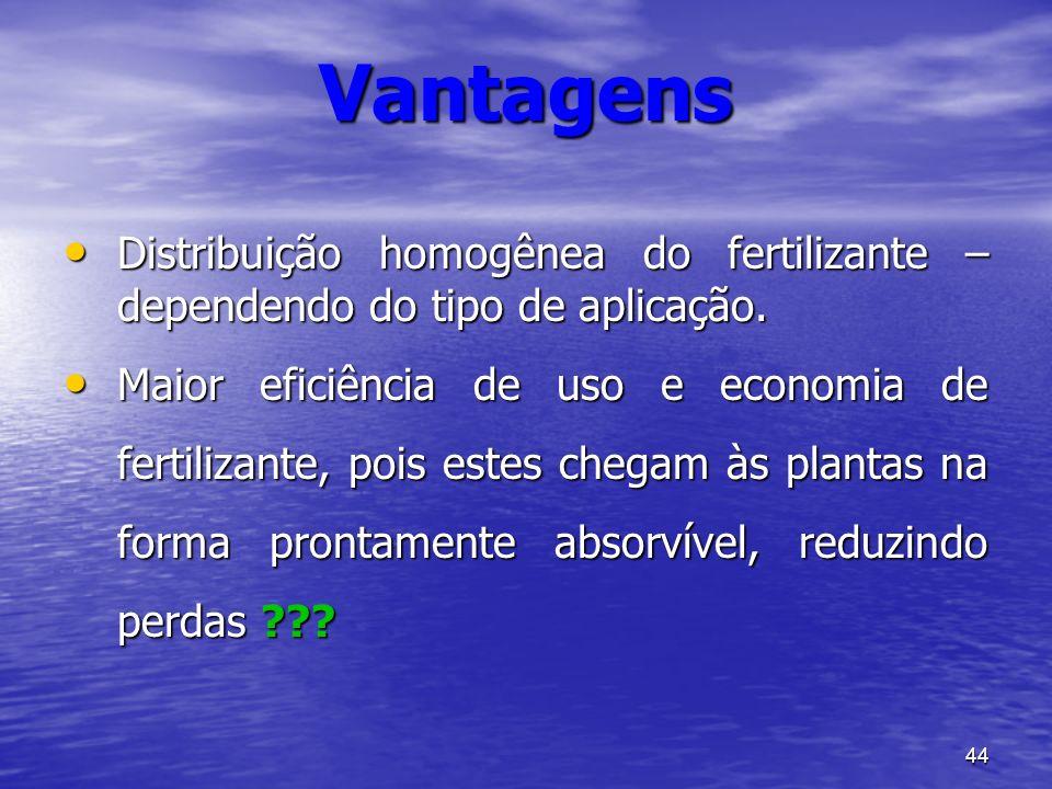 Vantagens Distribuição homogênea do fertilizante – dependendo do tipo de aplicação.