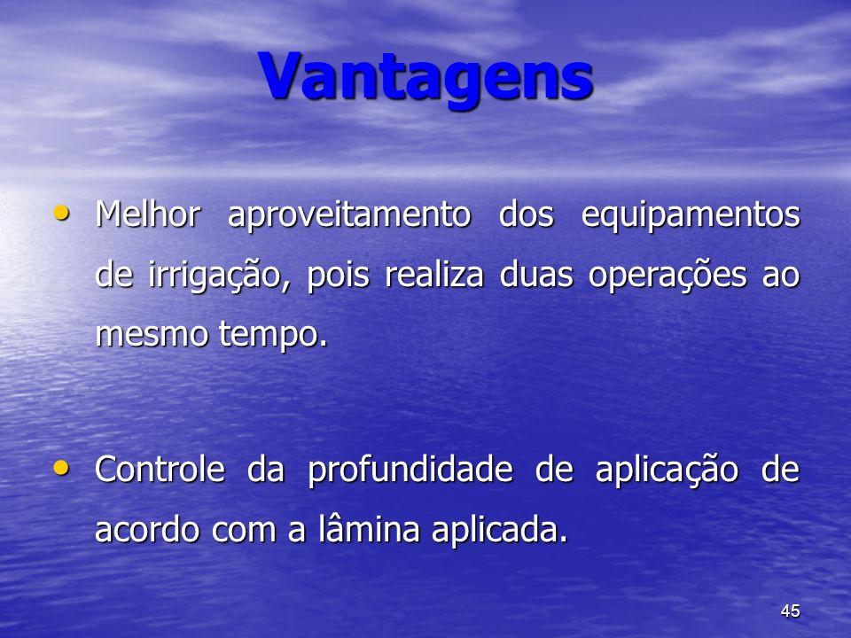 VantagensMelhor aproveitamento dos equipamentos de irrigação, pois realiza duas operações ao mesmo tempo.