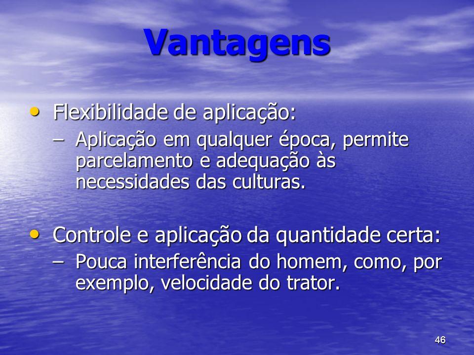 Vantagens Flexibilidade de aplicação: