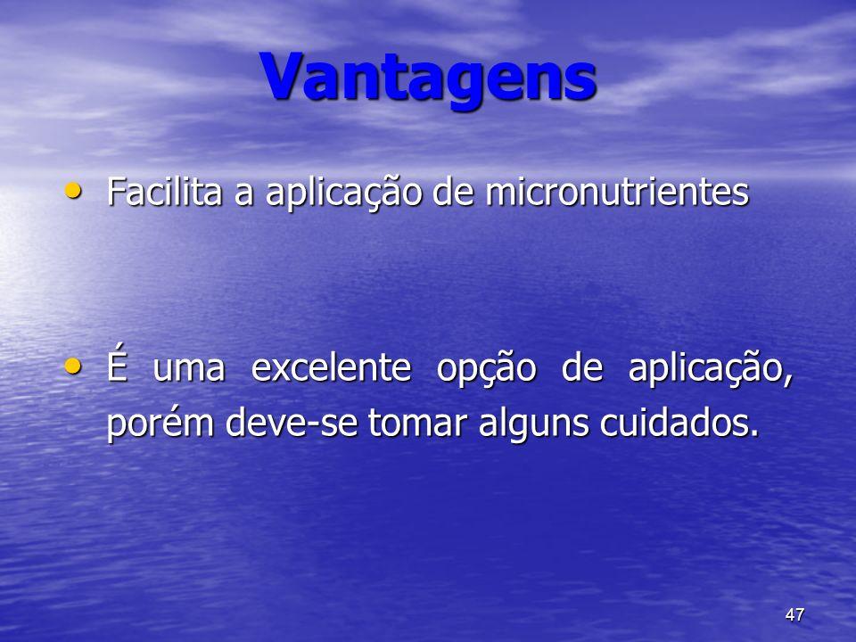 Vantagens Facilita a aplicação de micronutrientes