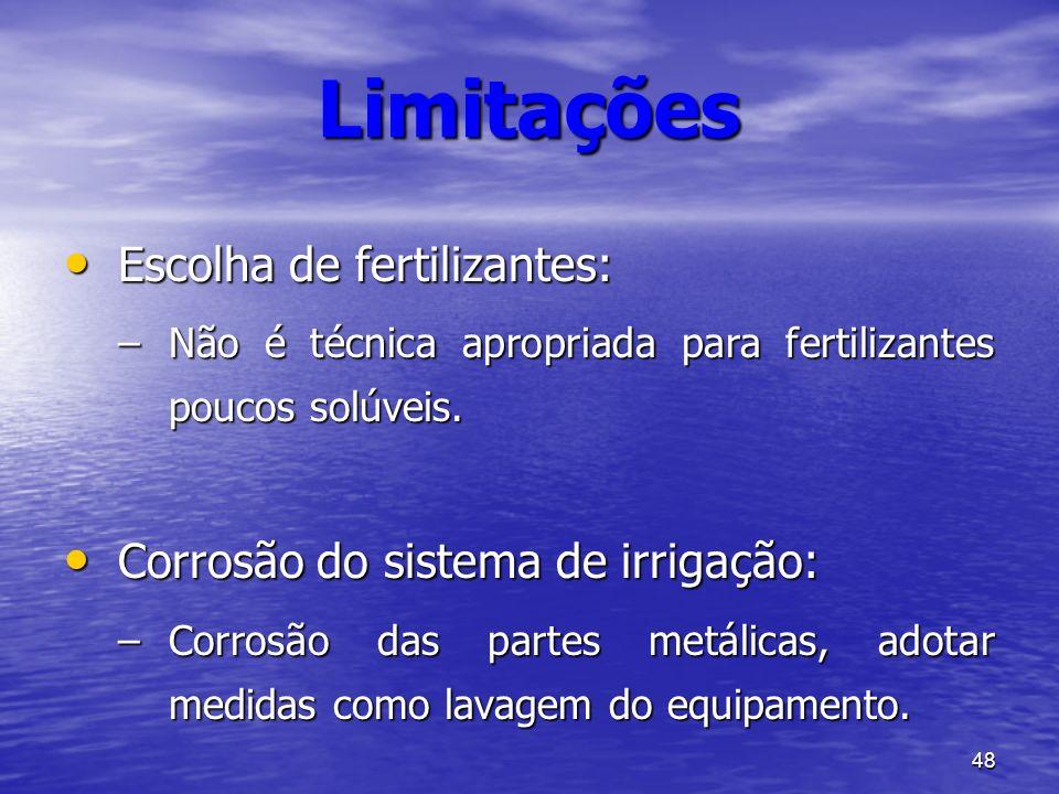 Limitações Escolha de fertilizantes: Corrosão do sistema de irrigação: