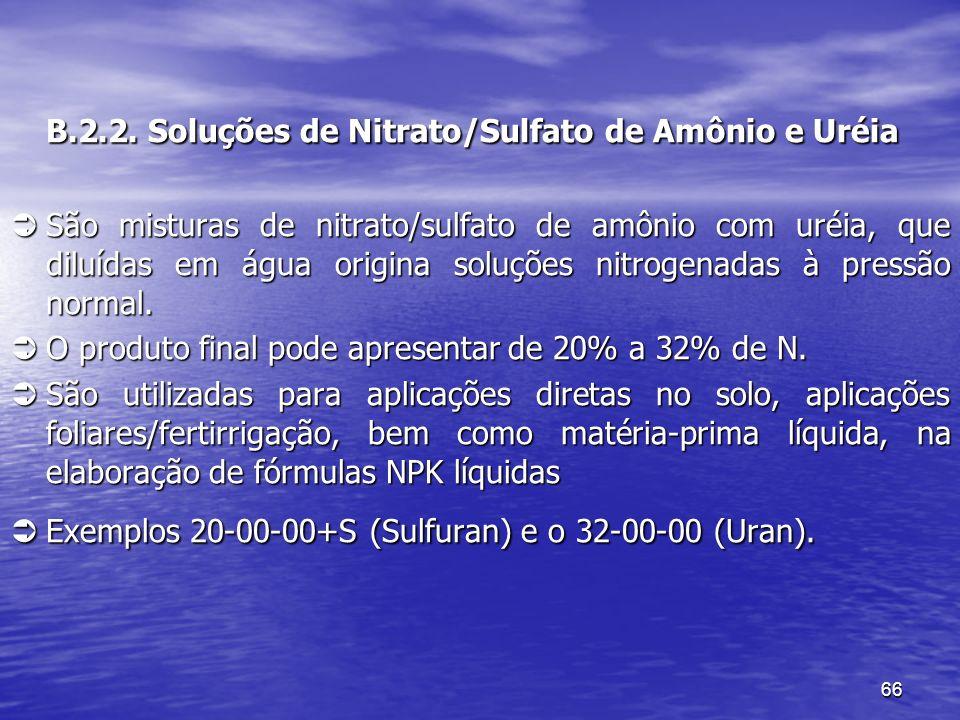 B.2.2. Soluções de Nitrato/Sulfato de Amônio e Uréia