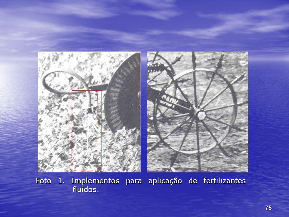 Foto 1. Implementos para aplicação de fertilizantes fluidos.