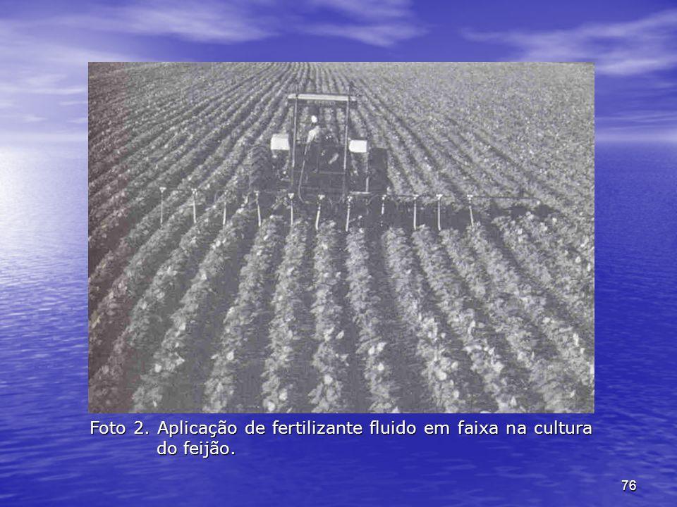Foto 2. Aplicação de fertilizante fluido em faixa na cultura do feijão.