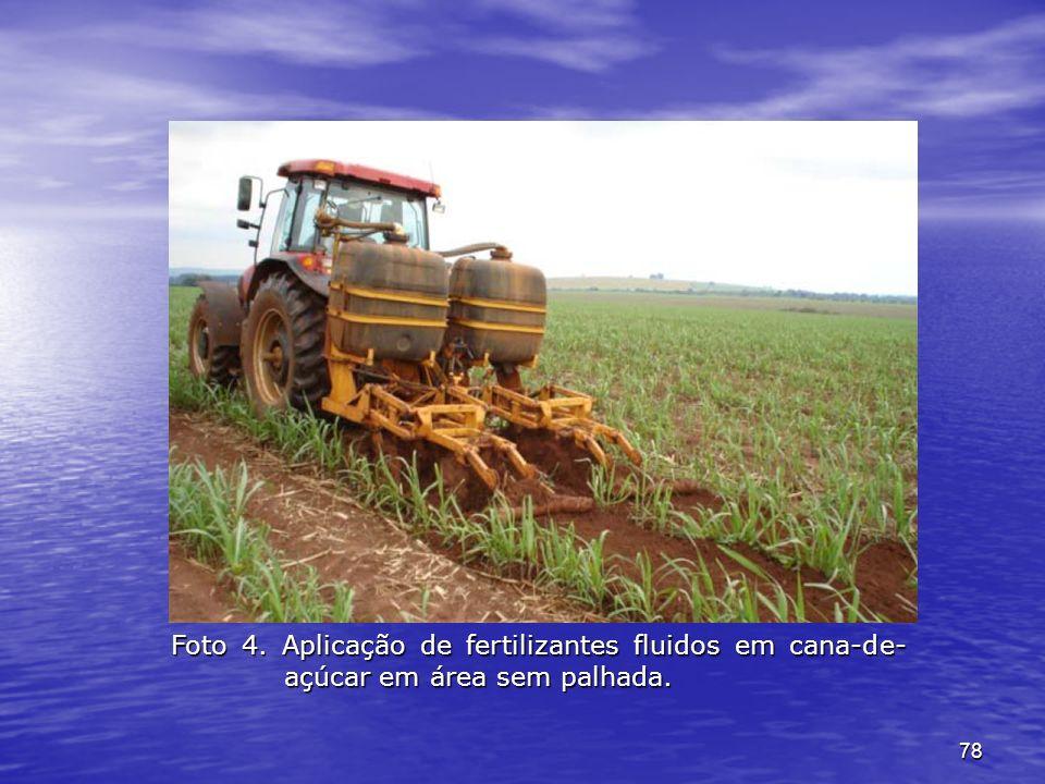 Foto 4. Aplicação de fertilizantes fluidos em cana-de-açúcar em área sem palhada.