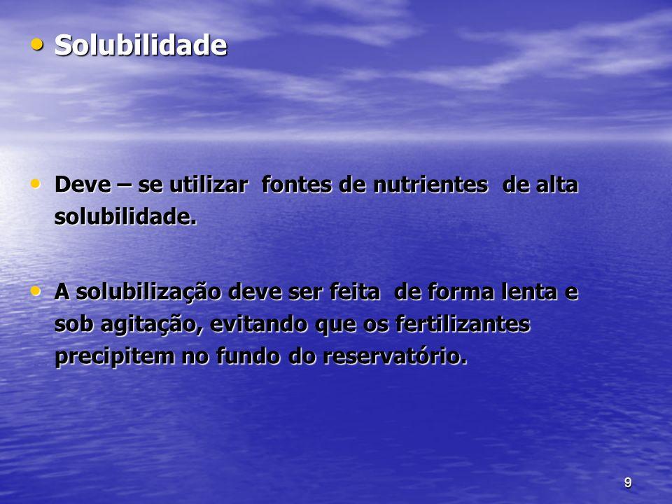 Solubilidade Deve – se utilizar fontes de nutrientes de alta solubilidade.