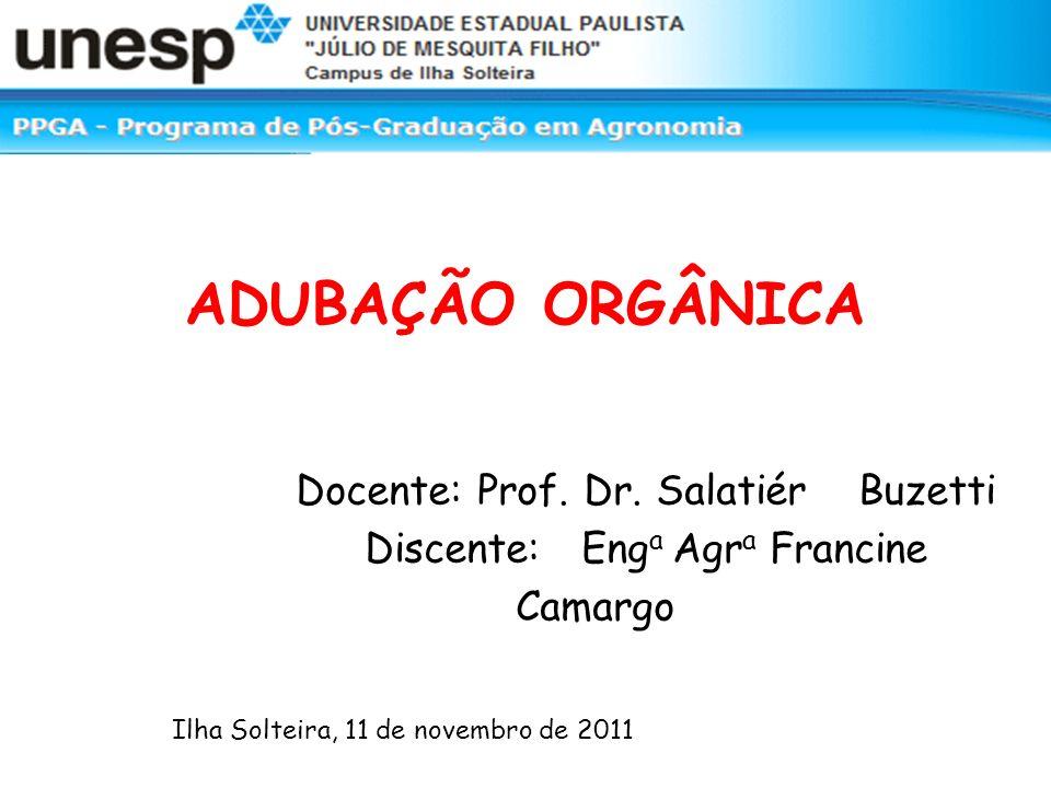 ADUBAÇÃO ORGÂNICA Docente: Prof. Dr.