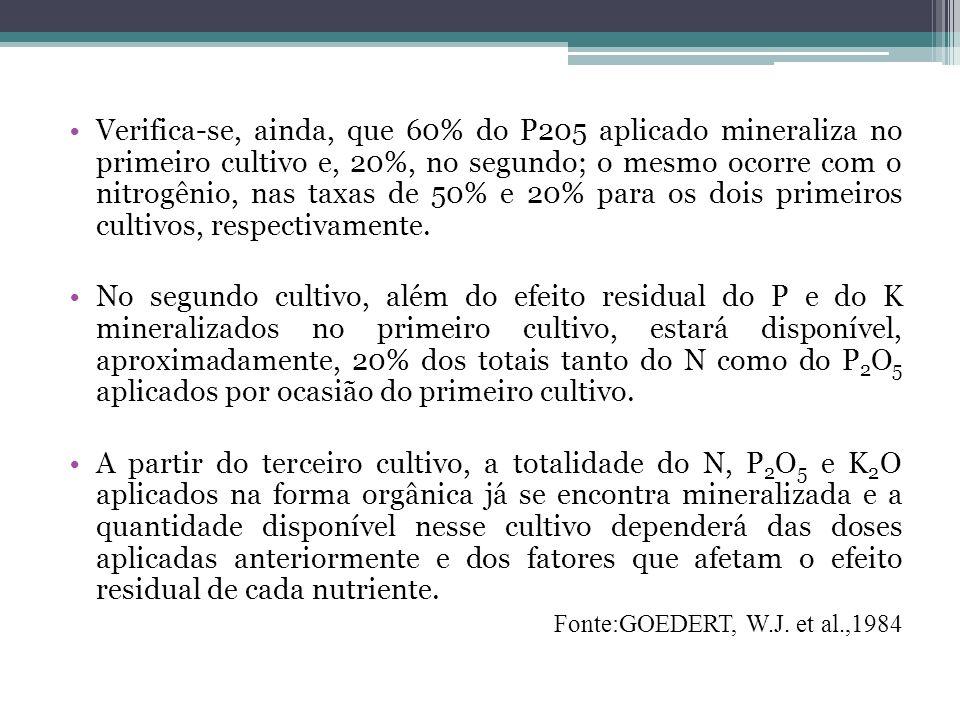 Verifica-se, ainda, que 60% do P205 aplicado mineraliza no primeiro cultivo e, 20%, no segundo; o mesmo ocorre com o nitrogênio, nas taxas de 50% e 20% para os dois primeiros cultivos, respectivamente.