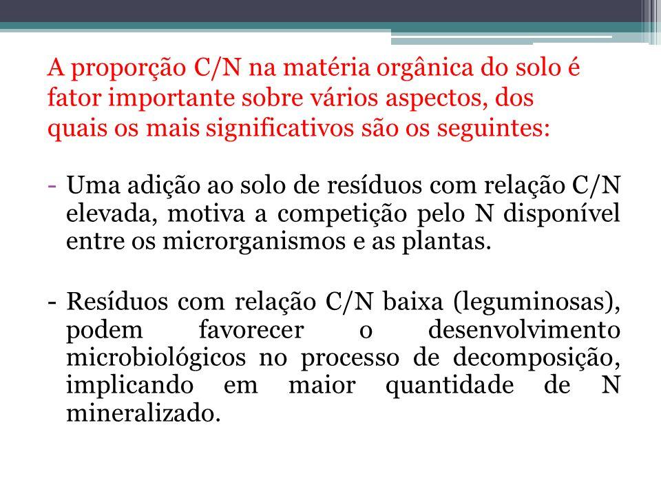 A proporção C/N na matéria orgânica do solo é