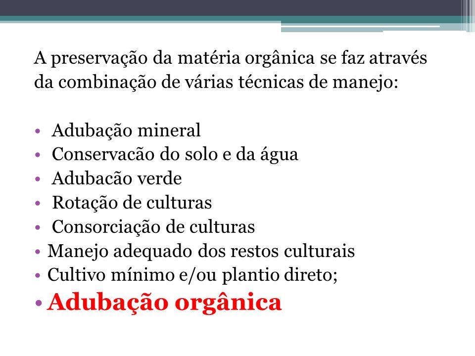 Adubação orgânica A preservação da matéria orgânica se faz através