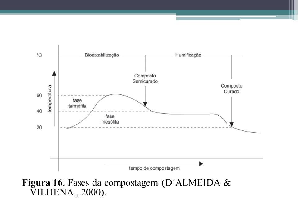 Figura 16. Fases da compostagem (D´ALMEIDA & VILHENA , 2000).