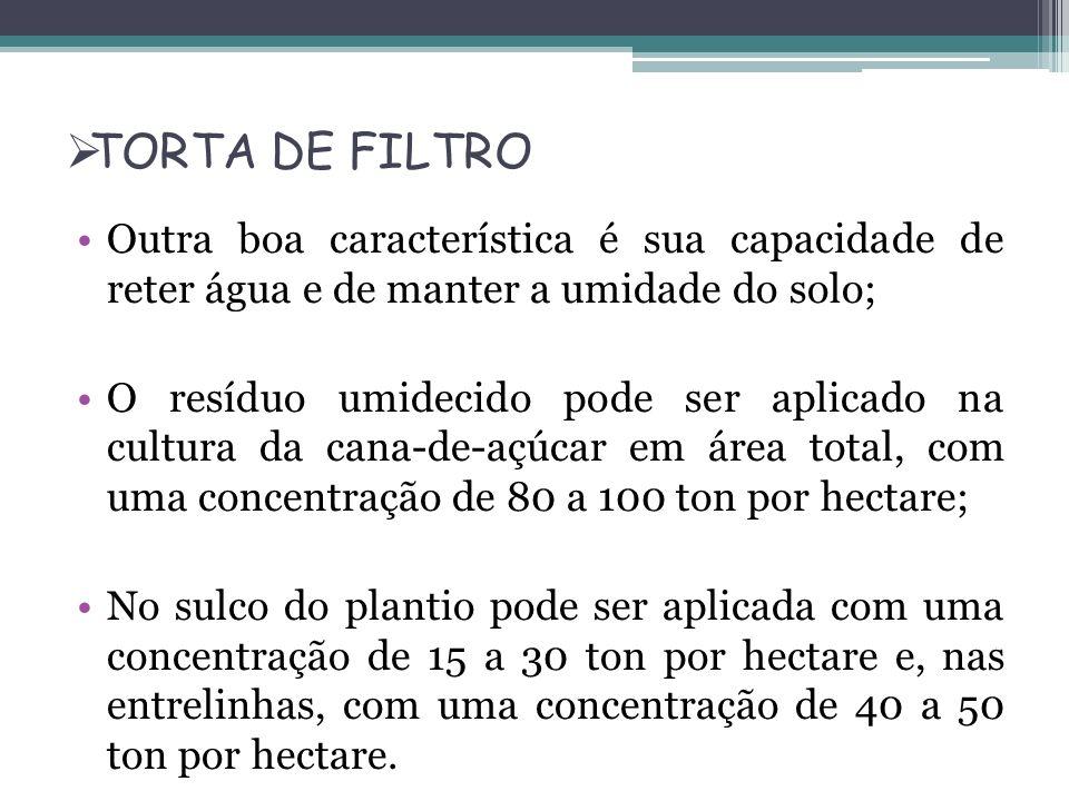 TORTA DE FILTRO Outra boa característica é sua capacidade de reter água e de manter a umidade do solo;