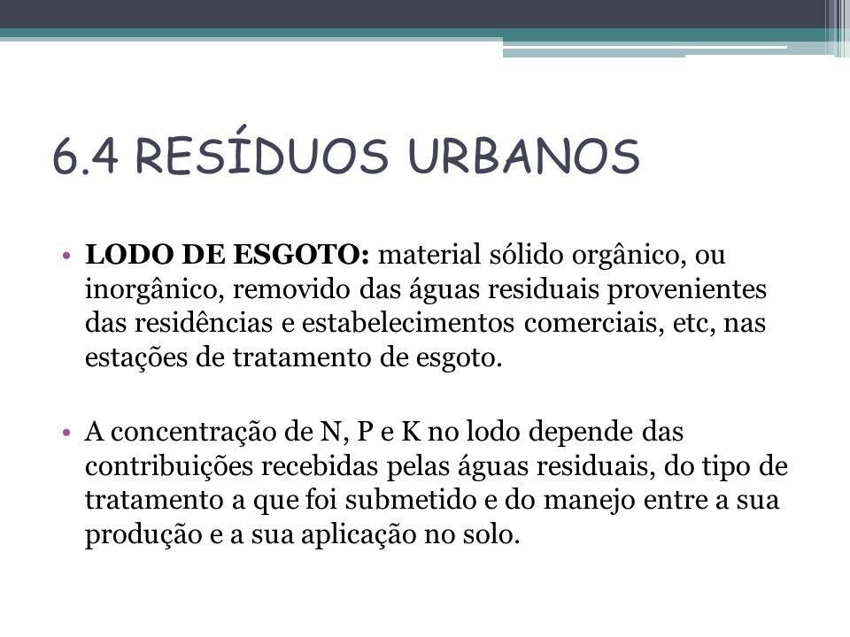 6.4 RESÍDUOS URBANOS