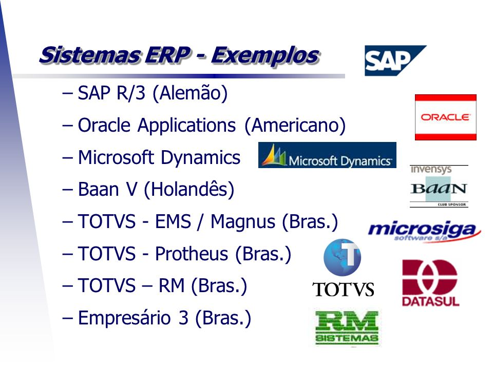 Sistemas ERP - Exemplos