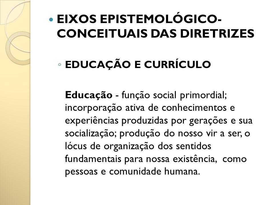 EIXOS EPISTEMOLÓGICO- CONCEITUAIS DAS DIRETRIZES