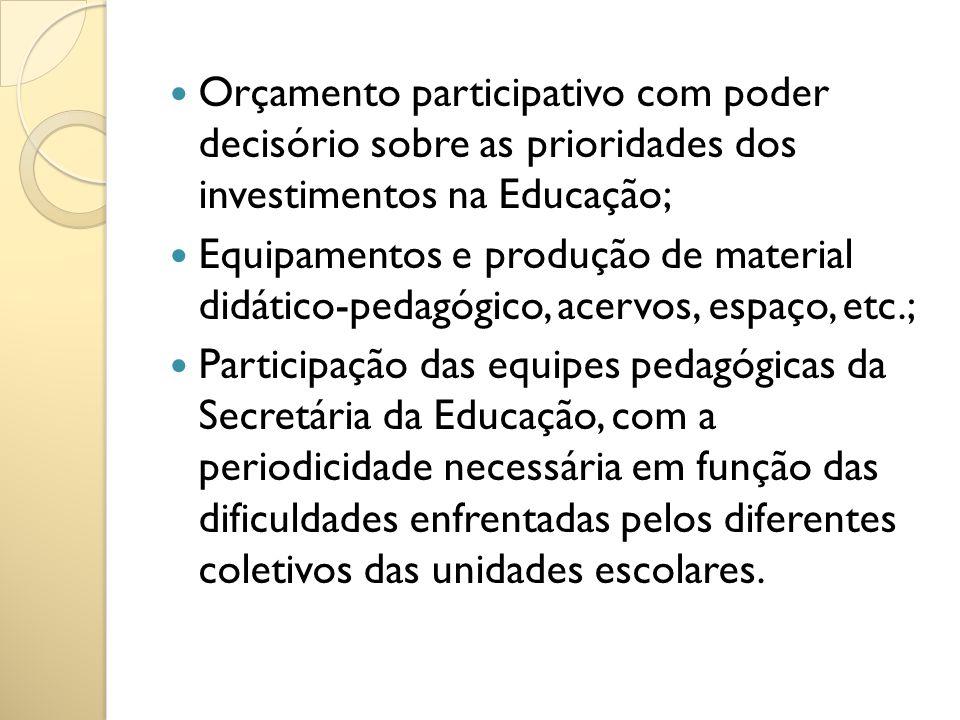 Orçamento participativo com poder decisório sobre as prioridades dos investimentos na Educação;