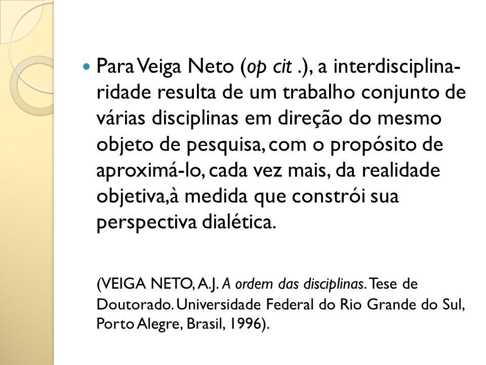 Para Veiga Neto (op cit .), a interdisciplina- ridade resulta de um trabalho conjunto de várias disciplinas em direção do mesmo objeto de pesquisa, com o propósito de aproximá-lo, cada vez mais, da realidade objetiva,à medida que constrói sua perspectiva dialética.