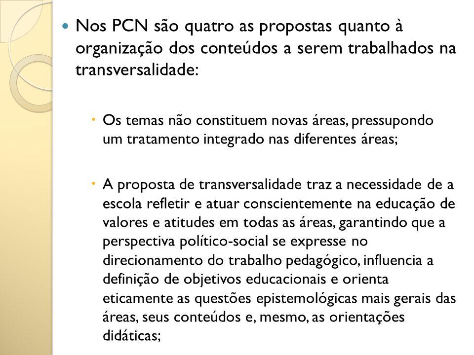 Nos PCN são quatro as propostas quanto à organização dos conteúdos a serem trabalhados na transversalidade: