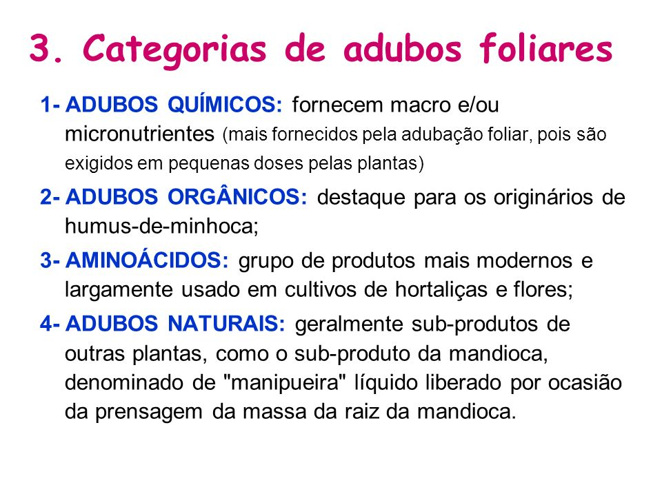 3. Categorias de adubos foliares