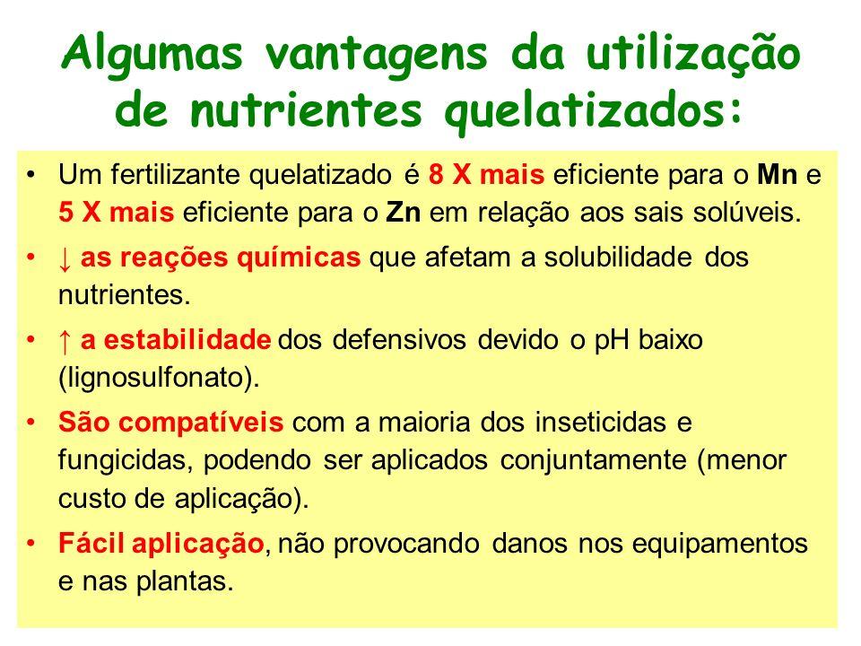 Algumas vantagens da utilização de nutrientes quelatizados: