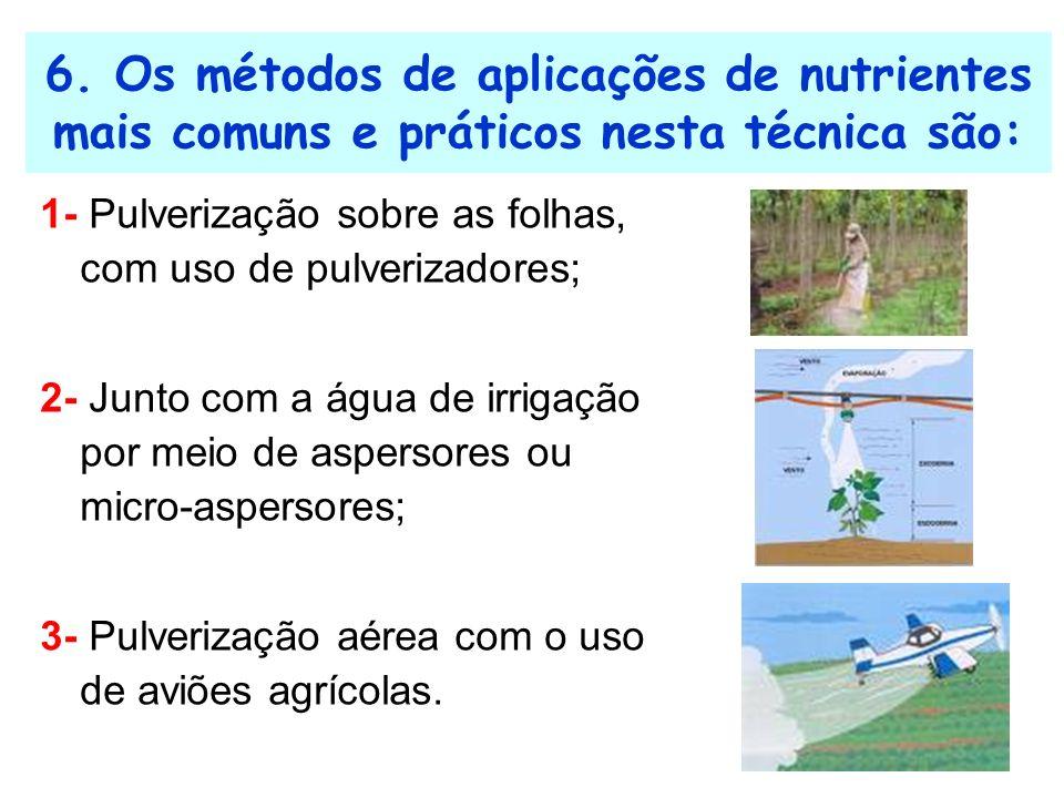 6. Os métodos de aplicações de nutrientes mais comuns e práticos nesta técnica são: