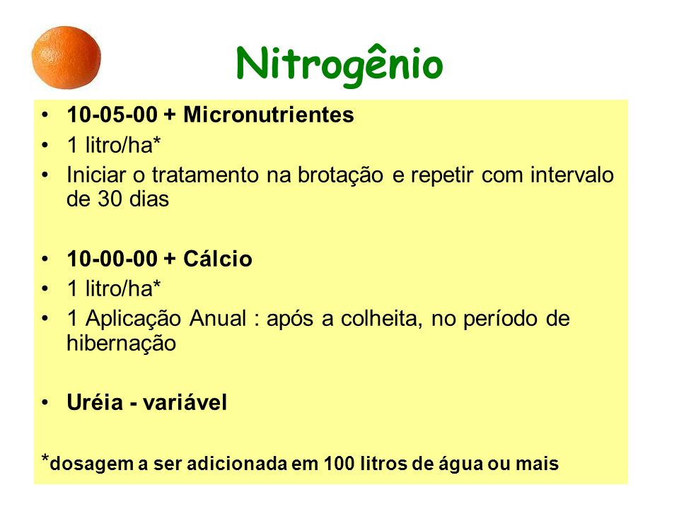 Nitrogênio 10-05-00 + Micronutrientes 1 litro/ha*
