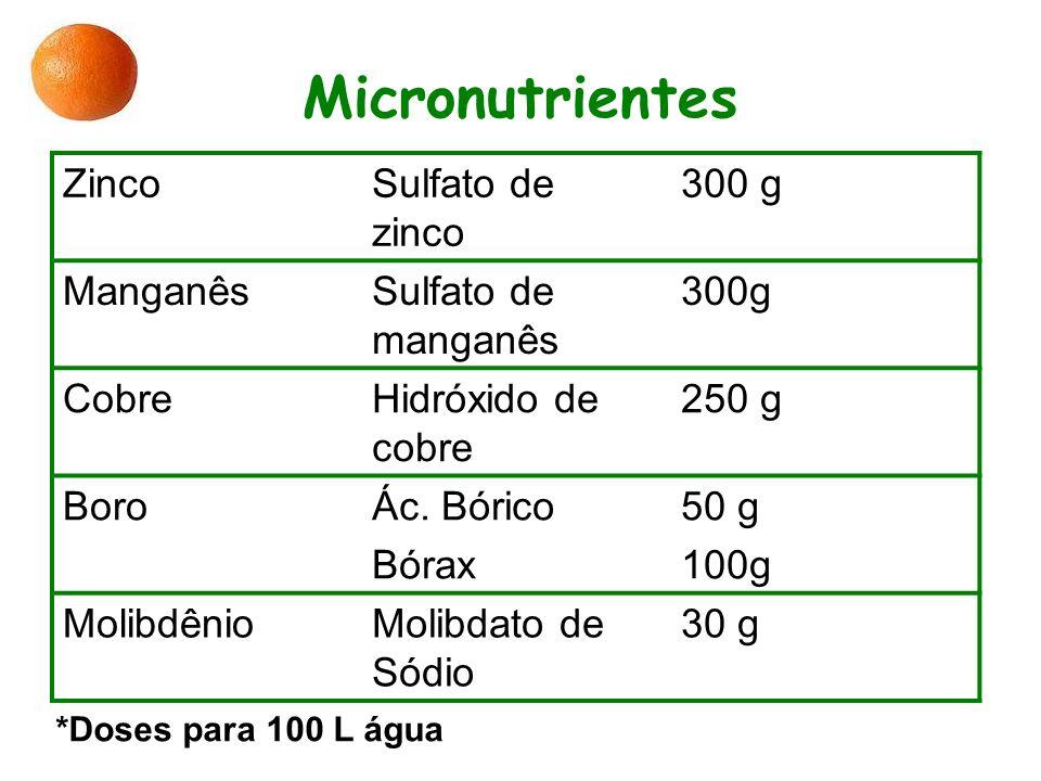 Micronutrientes Zinco Sulfato de zinco 300 g Manganês