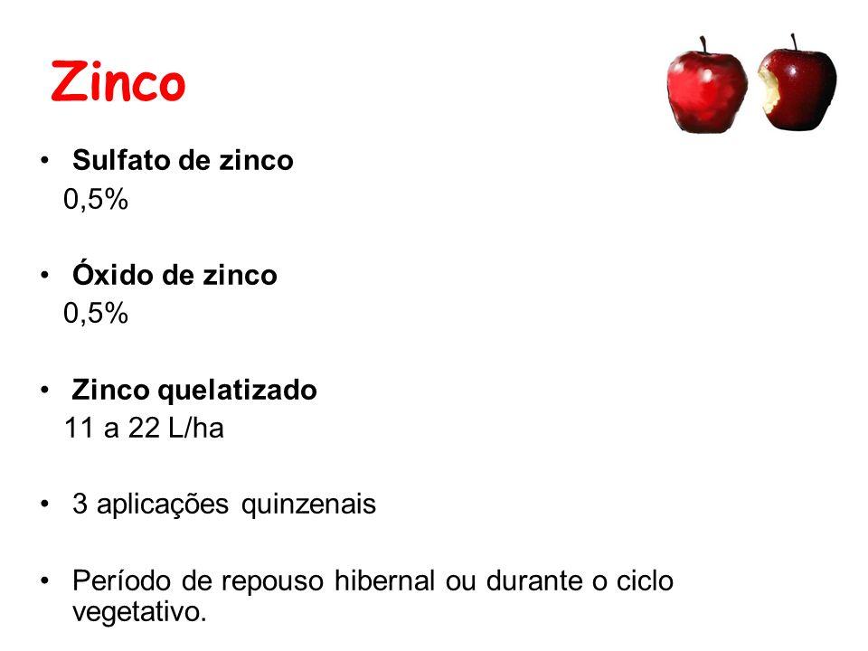 Zinco Sulfato de zinco 0,5% Óxido de zinco Zinco quelatizado