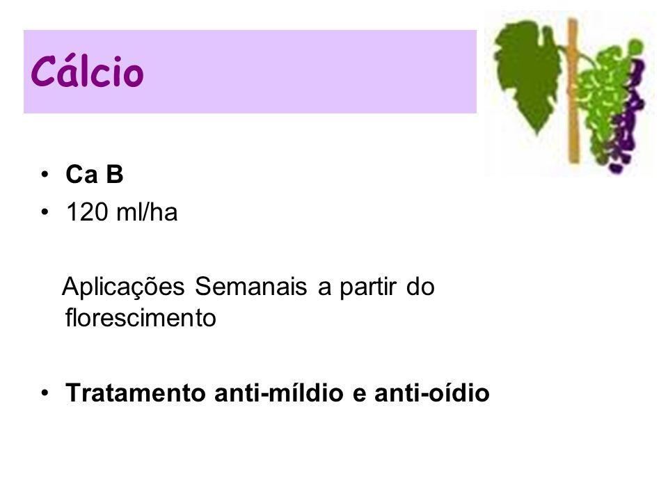 Cálcio Ca B 120 ml/ha Aplicações Semanais a partir do florescimento