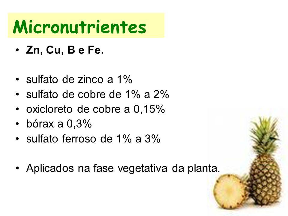 Micronutrientes Zn, Cu, B e Fe. sulfato de zinco a 1%
