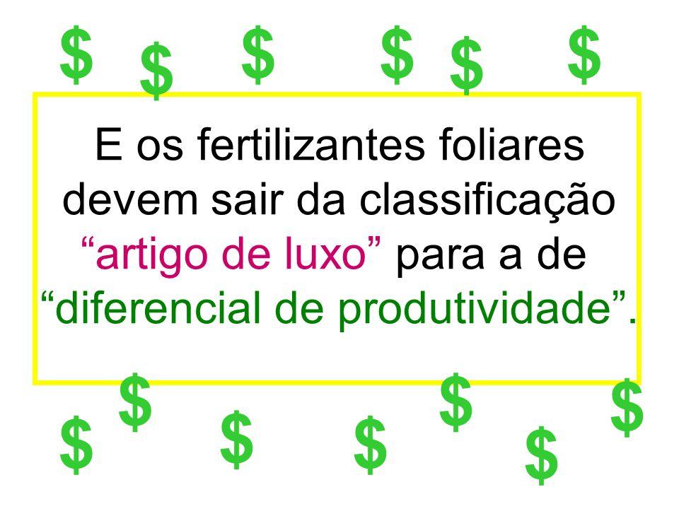 $ $ $ $ E os fertilizantes foliares devem sair da classificação artigo de luxo para a de diferencial de produtividade .