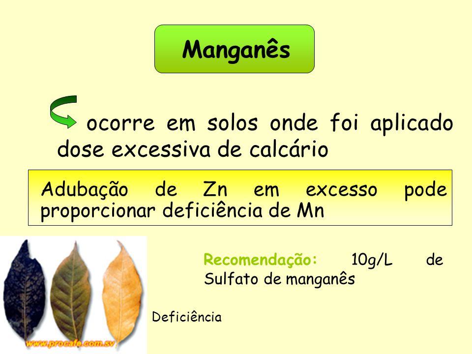 Manganês Adubação de Zn em excesso pode proporcionar deficiência de Mn