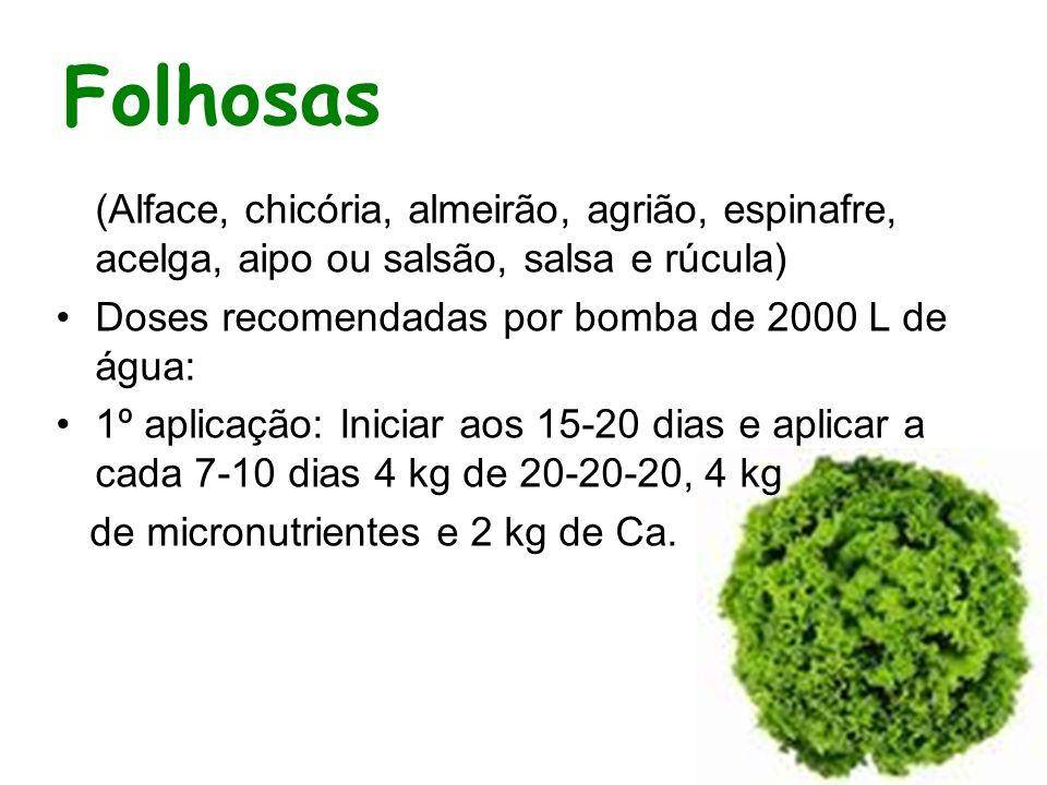 Folhosas (Alface, chicória, almeirão, agrião, espinafre, acelga, aipo ou salsão, salsa e rúcula) Doses recomendadas por bomba de 2000 L de água: