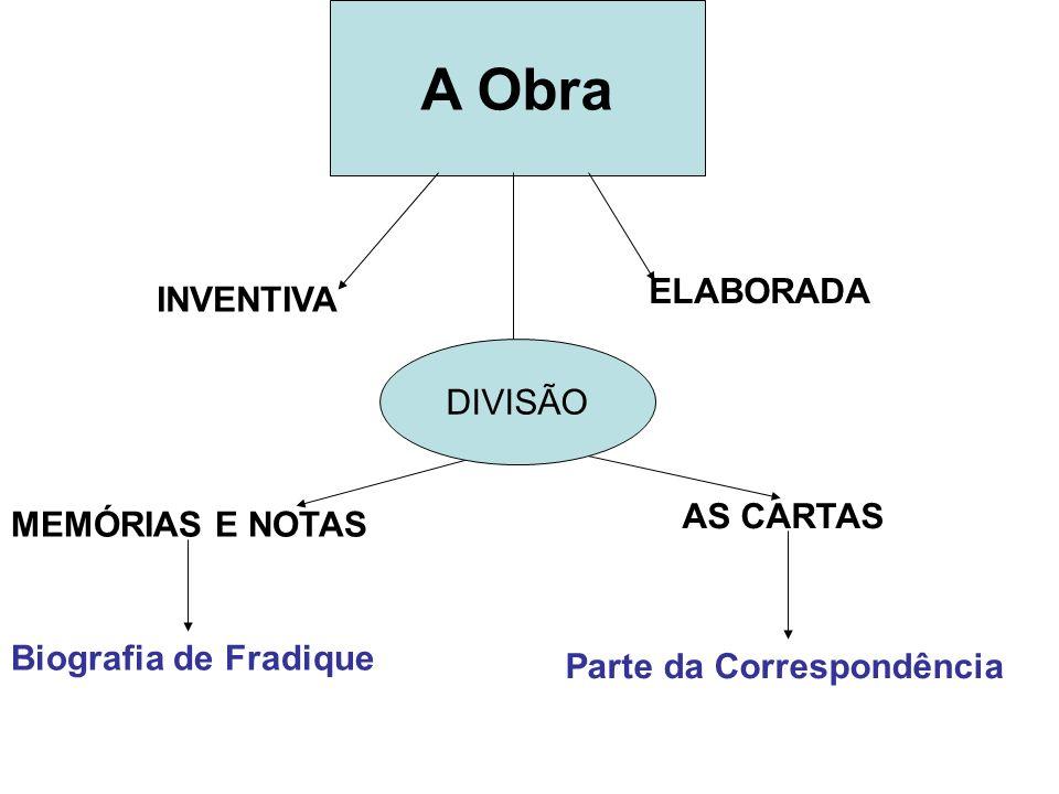 A Obra ELABORADA INVENTIVA DIVISÃO AS CARTAS MEMÓRIAS E NOTAS